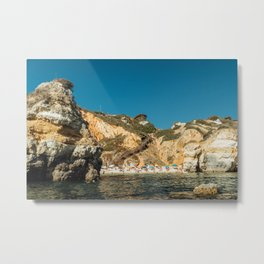 People On Praia do Camilo (Camel Beach) In Portugal, Travel Photo, Large Printable Photography Metal Print