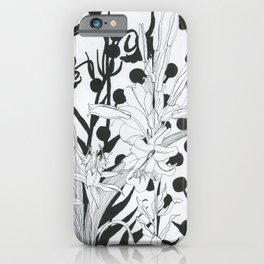 Vintage floral in black and white iPhone Case