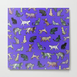 Marble Cats Ultraviolet Metal Print