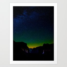 Starry Night Sky Stars Landscape Silhouette Colorful Green Turquoise Sky Ombre Art Print