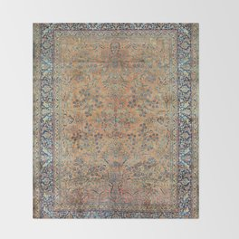 Kashan Floral Persian Carpet Print Throw Blanket