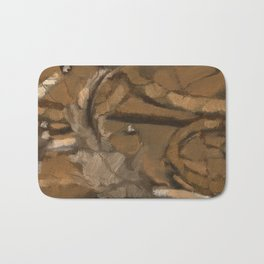 Feather Impressionistic Tan Brown Painting Abstract Realism of Native American Dreamcatcher Bath Mat