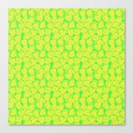 Big Monstera Tropical Leaf Hawaii Rain Forest Lemon Yellow and Lime Green Canvas Print