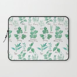 green herbs family watercolor Laptop Sleeve