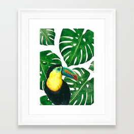 Toucan parrot with monstera leaf pattern Framed Art Print