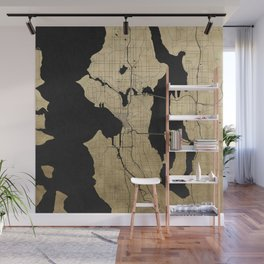 Seattle Black and Gold Street Map Wall Mural