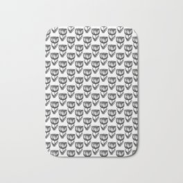 Black and White Vintage Tulips Bath Mat
