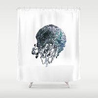 jelly fish Shower Curtains featuring Blue Jelly  by Carly Anderson