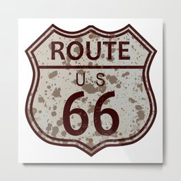 Weathered Route 66 Sign Metal Print