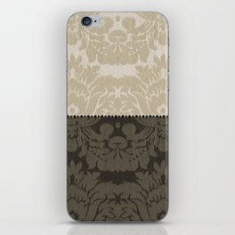 Brown and Tan Faux Linen Damask iPhone Skin