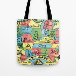 Nicknames of the States Vintage Map, 1884 Tote Bag
