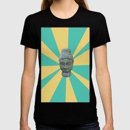Buddha Photograph And Graphic Rays Pop-Art T-shirt