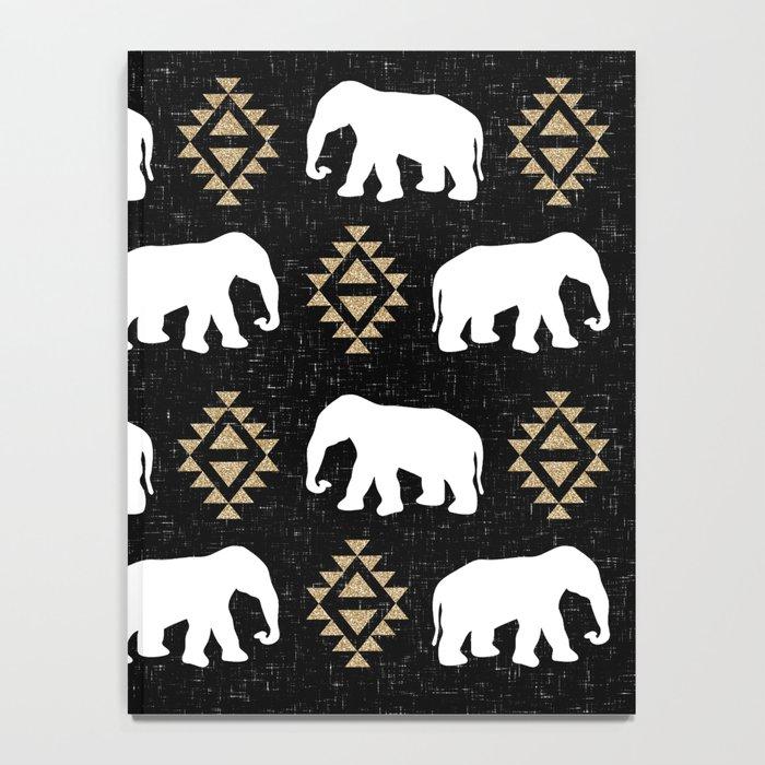 Elephant modern pattern print black gold glitter minimal with tribal influence gender neutral Notebook