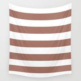 Blast-off bronze -  solid color - white stripes pattern Wall Tapestry