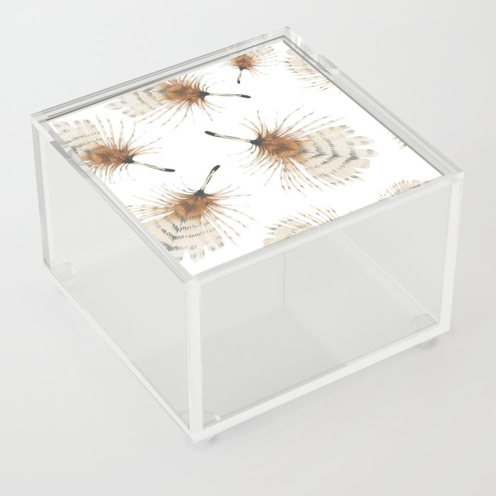 Delicate Brown Feather Seamless Pattern Acrylic Box