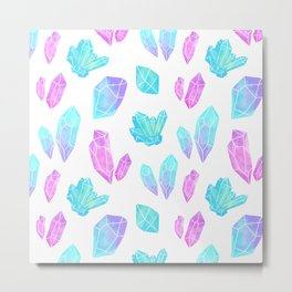 Pastel Watercolor Crystals Metal Print