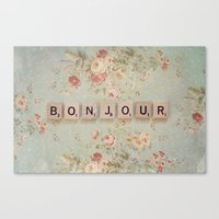 bonjour Canvas Prints featuring Bonjour by Christine Hall