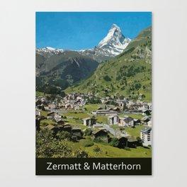 Retro Swiss travel Zermatt and Mount Matterhorn  Canvas Print