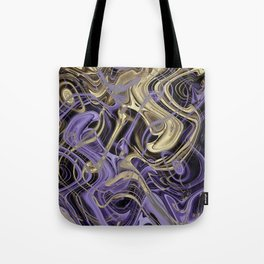 Gold & Ultra Violet Liquid Marble Love Tote Bag