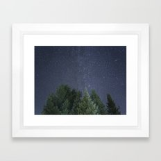 Pine trees with the northern michigan night sky Framed Art Print