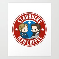 stucky Art Prints featuring Starbucks - Steve Rogers and Bucky Barnes Iced Coffee  by BlacksSideshow
