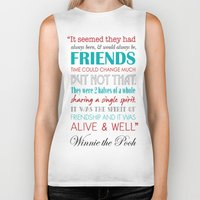 winnie the pooh Biker Tanks featuring Winnie the Pooh Friendship Quote - Red & Teal by Jaydot Creative