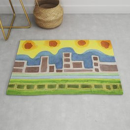 Surreal Simplified Cityscape Rug