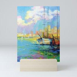 Rainbow morning at the pier Mini Art Print