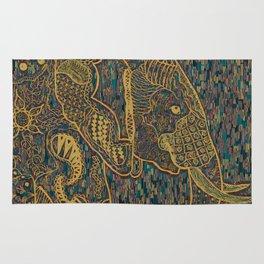 Zentangle Elephant Gold Rug