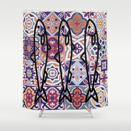 Azulejos Portugal sardine Shower Curtain