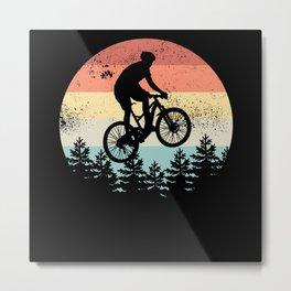 Mountain Biking Sunset Cyclist MTB Gift Metal Print