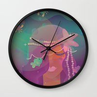 mermaid Wall Clocks featuring Mermaid by Graphic Tabby