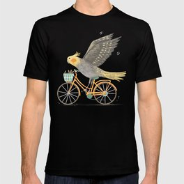 Cockatiel on a Bicycle T-shirt