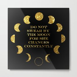 Moon Phases Gold Metal Print