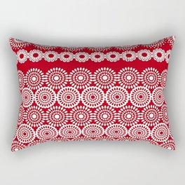 Cute Red Crochet Lace Flowers  Rectangular Pillow