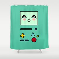bmo Shower Curtains featuring BMO by Janice Wong