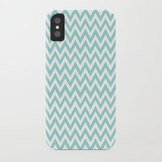 Teal Blue Chevron iPhone X Slim Case