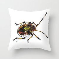 bug Throw Pillows featuring Bug by MSRomeiro