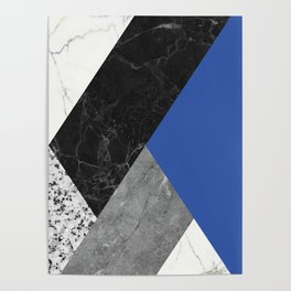 Black and White Marbles and Pantone Lapis Blue Color Poster