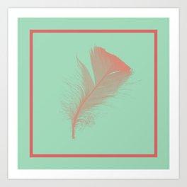 Hemlock Green Feather design Art Print