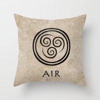 airbender Throw Pillows featuring Avatar Last Airbender - Air by bdubzgear