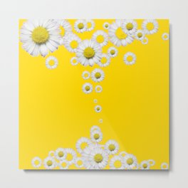 WHITE DAISIES WINDFALL YELLOW ART Metal Print
