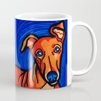 greyhound Mugs featuring Orange Greyhound by Gianna Brucato