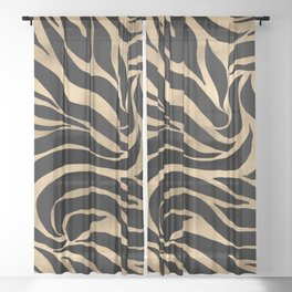 Elegant Metallic Gold Zebra Black Animal Print Sheer Curtain