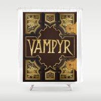buffy the vampire slayer Shower Curtains featuring Vampyr Book -- Buffy the Vampire Slayer by BovaArt