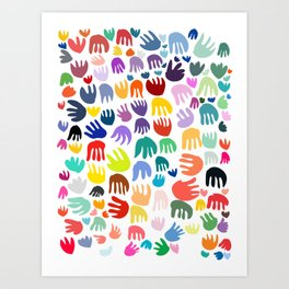 Hands Flowers and Hearts Colorful Abstract Pattern Art Art Print