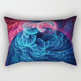 Blue and Violet Abstract Feathers in circle Rectangular Pillow