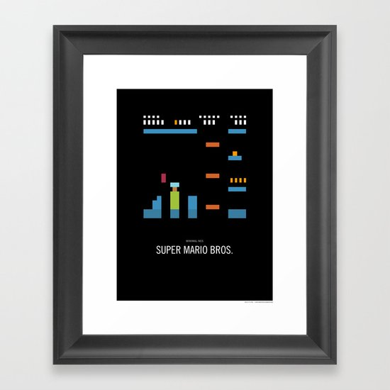 Minimal NES - Super Mario Bros. Framed Art Print