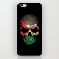 palestine iPhone & iPod Skins featuring Dark Skull with Flag of Palestine by Jeff Bartels