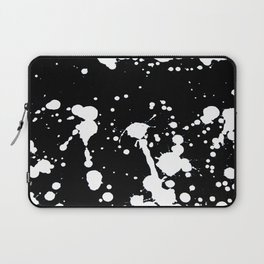 White and Black Abstract Paint Splatter on Black Canvas Laptop Sleeve